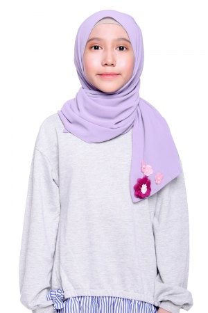 Instant Shawl Plain in Dusty Purple