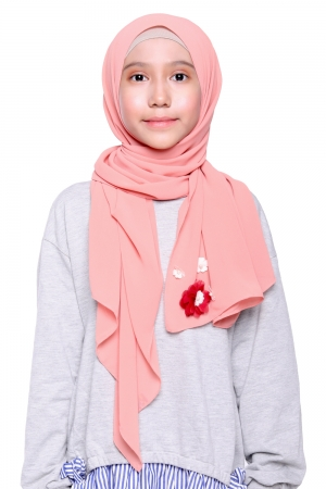Instant Shawl Plain in Salmon