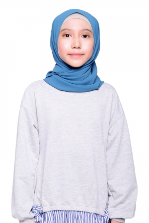 Instant Shawl Plain in Teal Blue