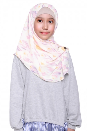 Instant Shawl Printed in Abstract Purple